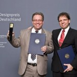 2011 Designpreis Award Ceremony - Claus Fischer and Michael Spieckermann of Innovative Bikes receiving ROBRADY's Designpreis award for the db0 Electric Folding Bike.